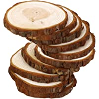IPOTCH Pack of 10 Rustic Wood Log Slices Discs Circles Tree Bark Slabs, Wooden Embellishments for Crafts Wedding Hobbies…