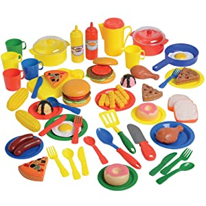 Constructive Playthings 69 pc. Meals and More Playset Including Food, Dishes and Cookware for Ages 3 Years and Up