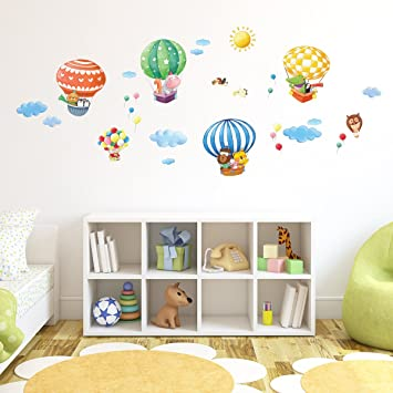 Decowall DA 1406B Tierheißluftballons Heißluftballons Flugzeuge Tiere  Wandtattoo Wandsticker Wandaufkleber Wanddeko Für Wohnzimmer Schlafzimmer  Kinderzimmer