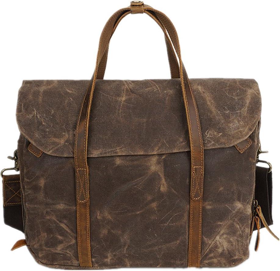 Mens Briefcase Mens Briefcase Oil Wax Canvas Tote Vintage Shoulder Messenger Bag Suitable for Business Casual Briefcases Shoulder Business Office Bag