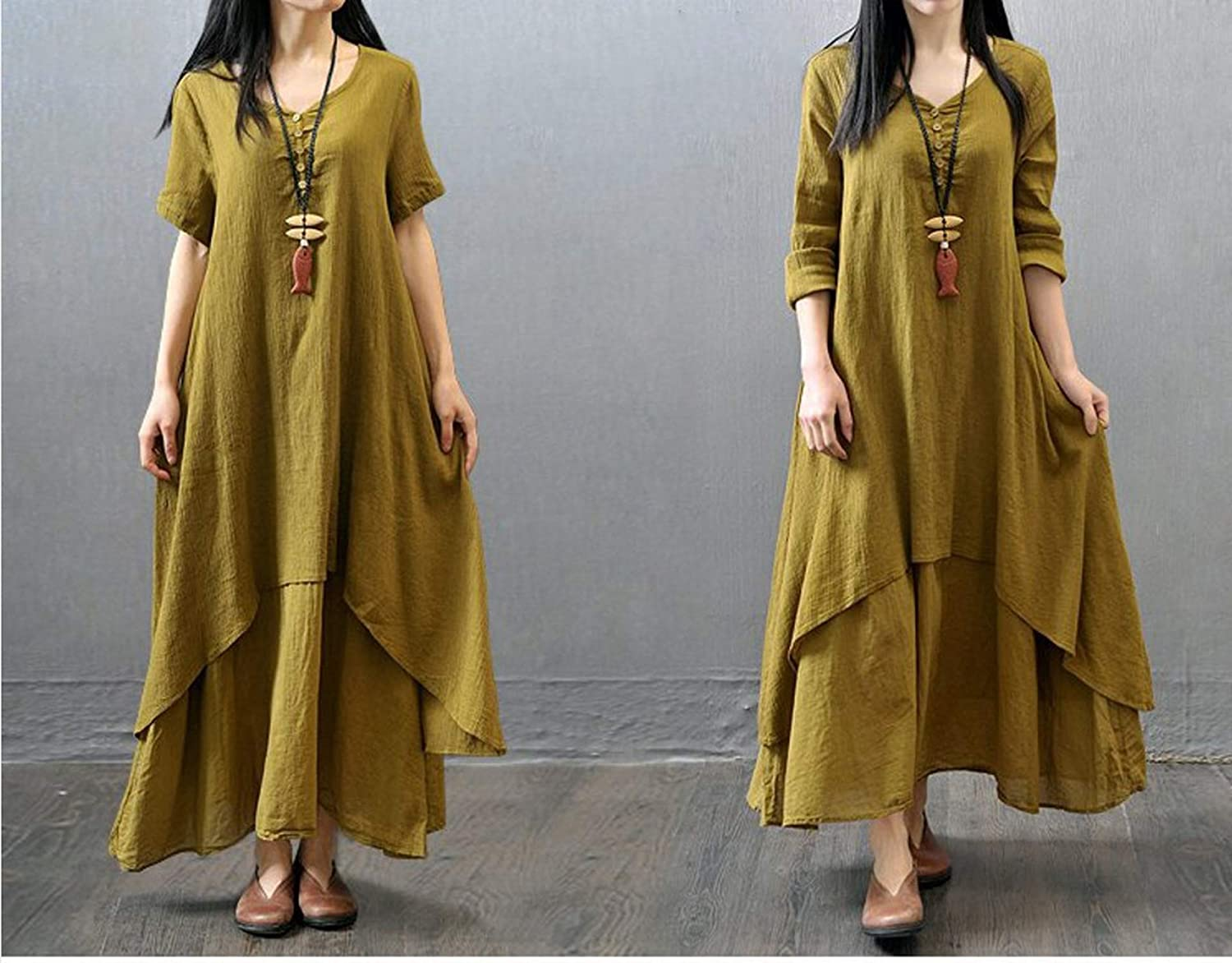 fc78f5aba8e Dreamedge Large Size Women s Ethnic Cotton and Linen Dresses Summer Fake  Two Large Swing Skirts at Amazon Women s Clothing store