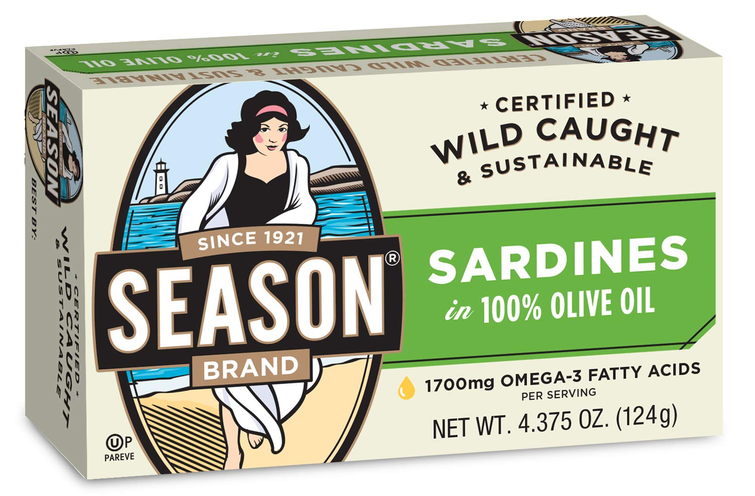 Season Sardines in Pure Olive Oil, 4.375-Ounce Tins (Pack of 12) by Season 1