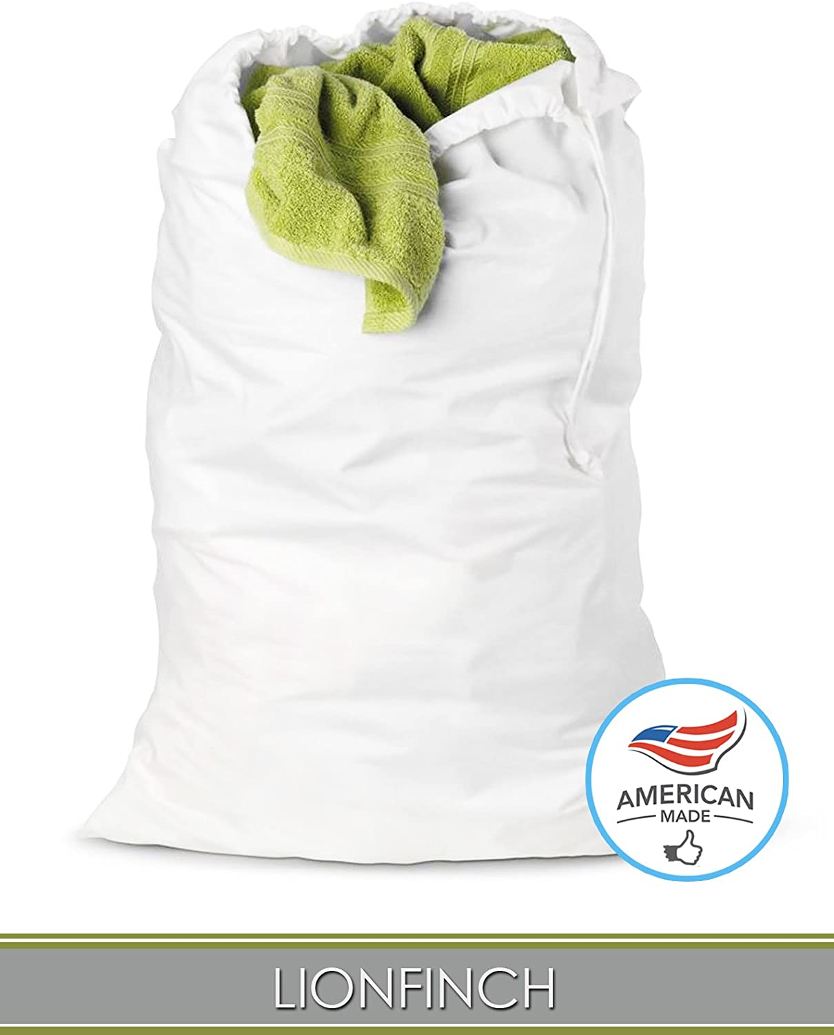 "LionFinch Heavy Duty Laundry Bag or Hamper Liner. Extra Large 38"" Tall x 28"" Wide. Bright White Super Soft Canvas. Fits 5 Loads of Laundry and Easy to Wash and Dry. Proudly Made in California!"