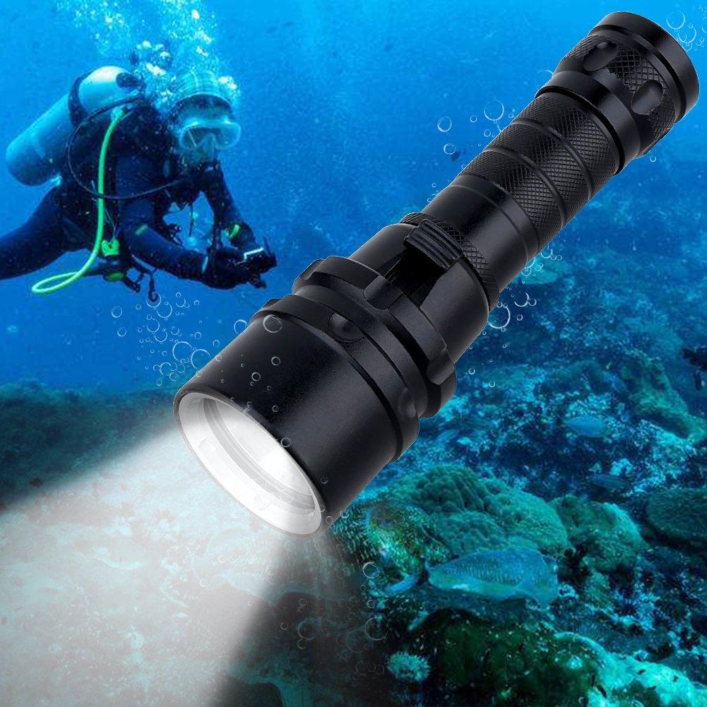 Goldenguy Dive Lights,1100 Lumen Waterproof Scuba Diving Light Flashlight Super Bright XML-L2 LED Submarine Light Fishing Handheld Torch Safety Lights Underwater Torch