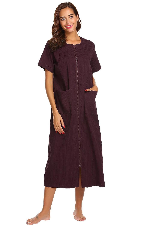 Imposes Damen Schlafhemd Kurzarm Nachthemd Lang Nachtshirt Sommer Hauskleider Lockeres Kleid Sleepshirt mit Taschen Schwarz Blau Violett
