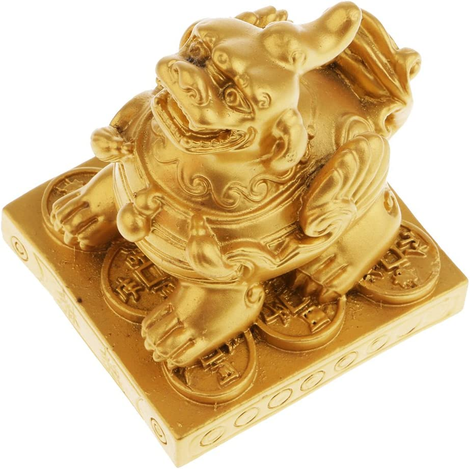 Packung Mit 2 St/ücke Pi Xiu Charme Kupfer Pi Yao Statue F/ür Tabletop Mittelst/ücke Home Office Decor 1xGold, 1xRot