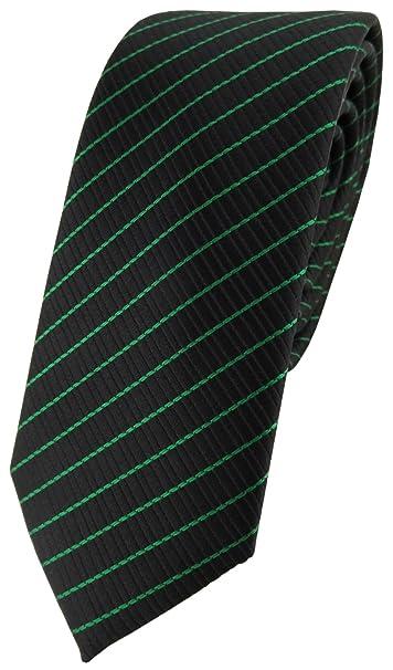TigerTie - corbata estrecha - verde negro rayas: Amazon.es: Ropa y ...