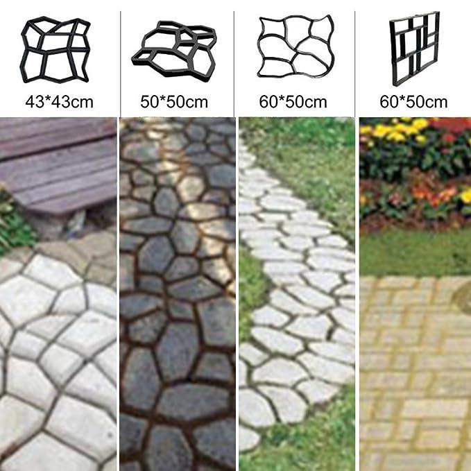Amazon.com: LVOERTUIG plastic path maker mold manually paving cement brick stone road DIY mold(4040)