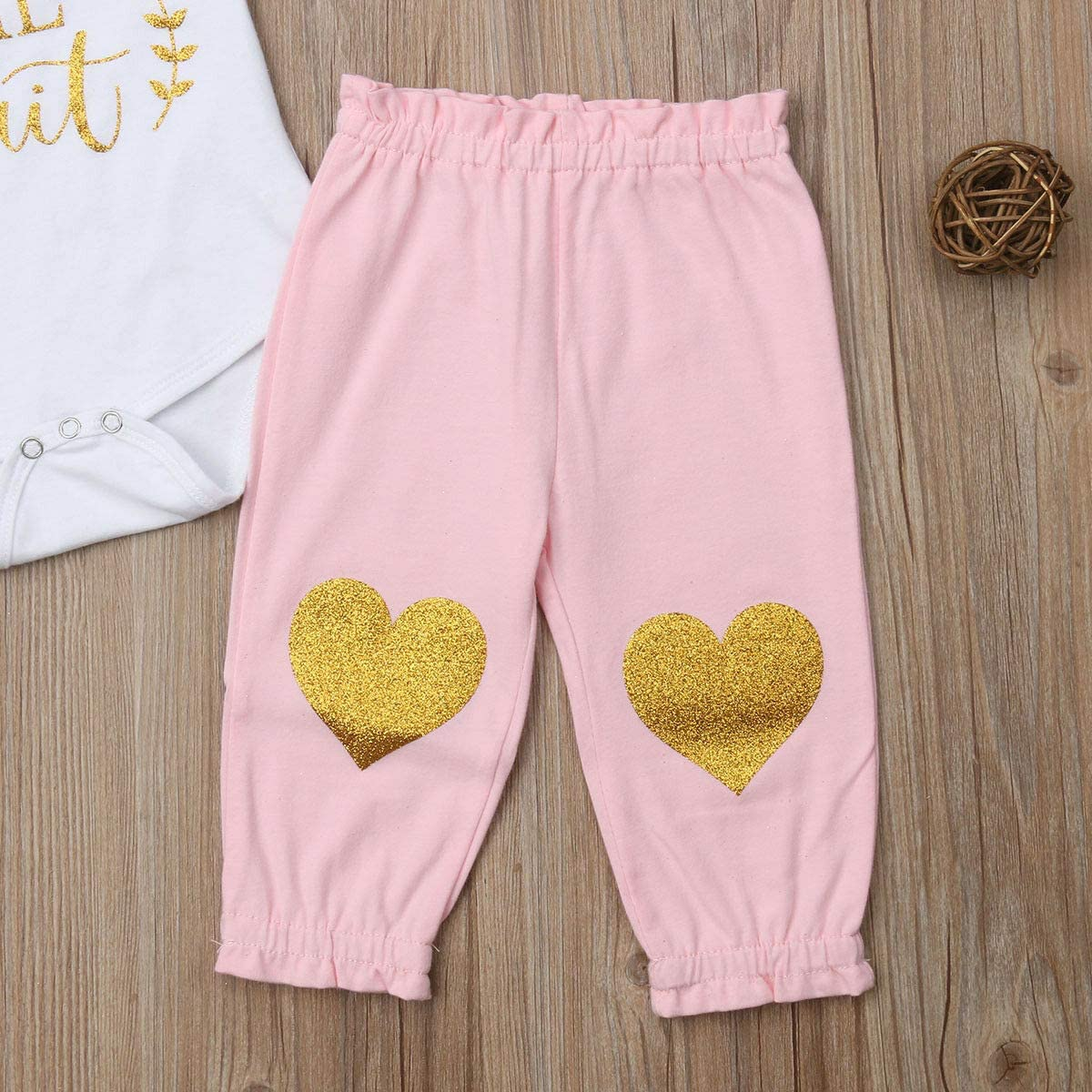 Douhoow 3PCS Infant Baby Girls Outfits Short Sleeve Romper Worth The Wait Long Pants with Headband Clothes Set
