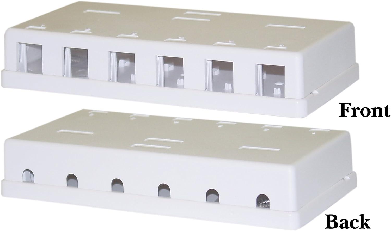 Box Only 6 Port Cat6 Cat5 RJ45  Surface Mount Box White