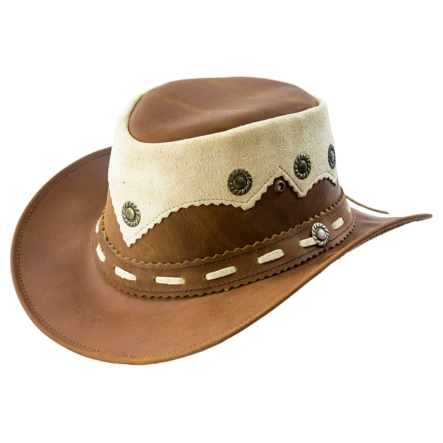 Lesa Collection Real Oily Leather Cowboy Western Style Leather Hat