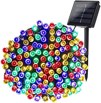 Joomer Solar Christmas Lights 72ft 200 Led 8 Modes Solar String Lights Waterproof Solar Fairy Lights For Garden Patio Fence Balcony Outdoors Multi Color Amazon Com
