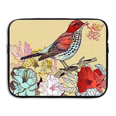 Amazon Com Laptop Sleeve Bag Drawing Flowers With Birds Waterproof