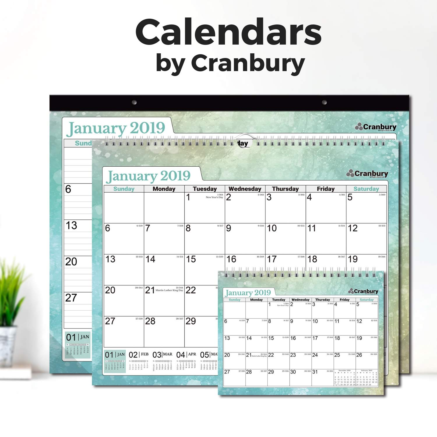 Cranbury Small Desk Calendar 2019 Monthly: Flip Desktop Counter Top Calendars with Bonus Planner Stickers for Family and Office, 8''x6'' (Colorful), Sturdy, USE Now Through December 2019 by Cranbury (Image #8)