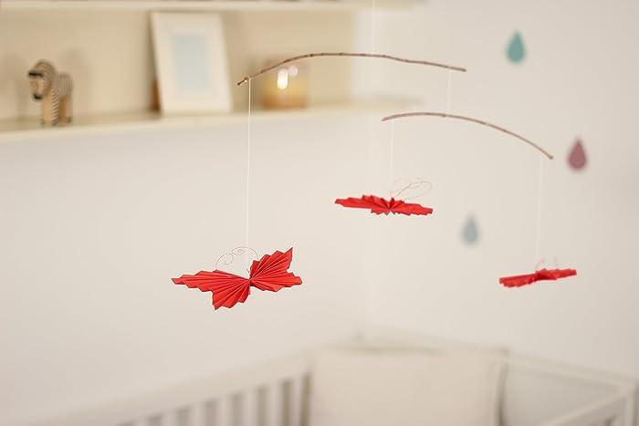 Baby Mobile 3 rote Schmetterlinge (z.B. als Taufgeschenk, Deko für ...