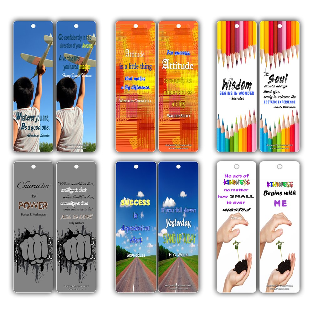 Bookmarks for Kids (30-Pack) - Smart Quotes About Wisdom Attitude Character Success Kindness Future - Great Books Reading Rewards Incentives for Kids Boys Girls Classroom Supplies - Best Party Favors Creanoso