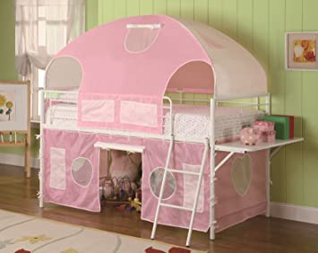 Girls Tent Twin Size Loft Bunk Bed in Light Pink u0026 White Finish & Amazon.com: Girls Tent Twin Size Loft Bunk Bed in Light Pink ...