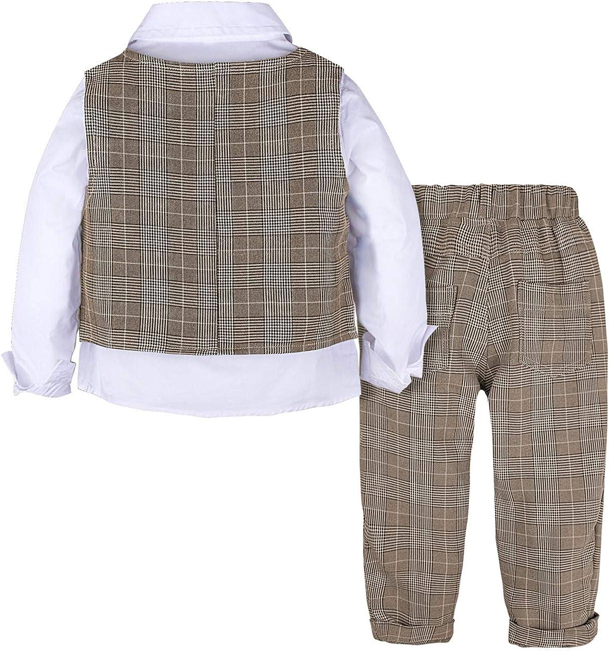 Pantalones Chaleco de Cuadros Pajarita mintgreen Trajes para Ni/ños Gentleman Conjunto de 4 Piezas Camisa de Manga Larga
