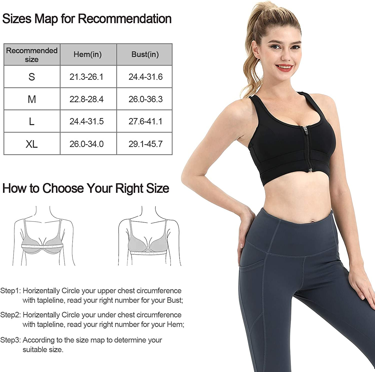 Cevapro Women Sports Bra Zip Front Padded Bras Seamless high Impact Support Tank Top for Workout Fitness Gym Yoga