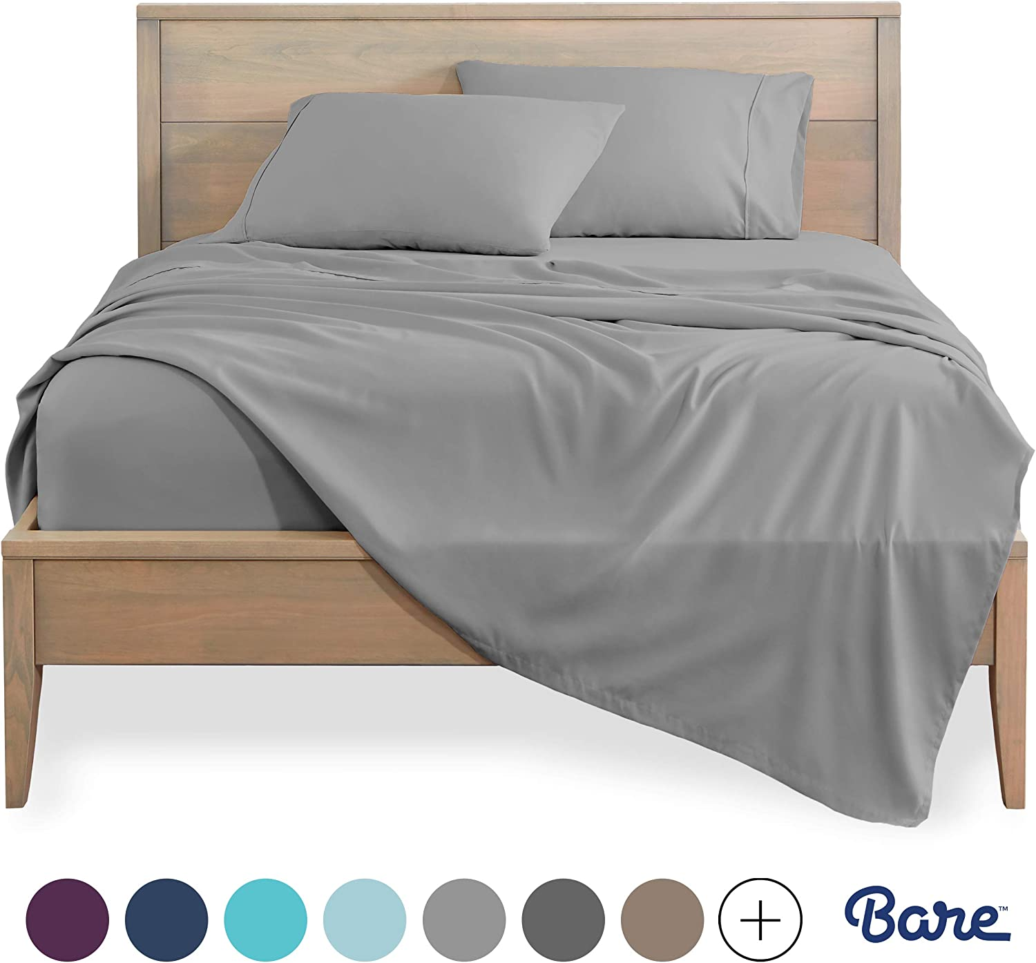 Bare Home Twin XL Sheet Set - College Dorm Size - Premium 1800 Ultra-Soft Microfiber Sheets Twin Extra Long - Double Brushed - Hypoallergenic - Wrinkle Resistant (Twin XL, Light Grey): Home & Kitchen
