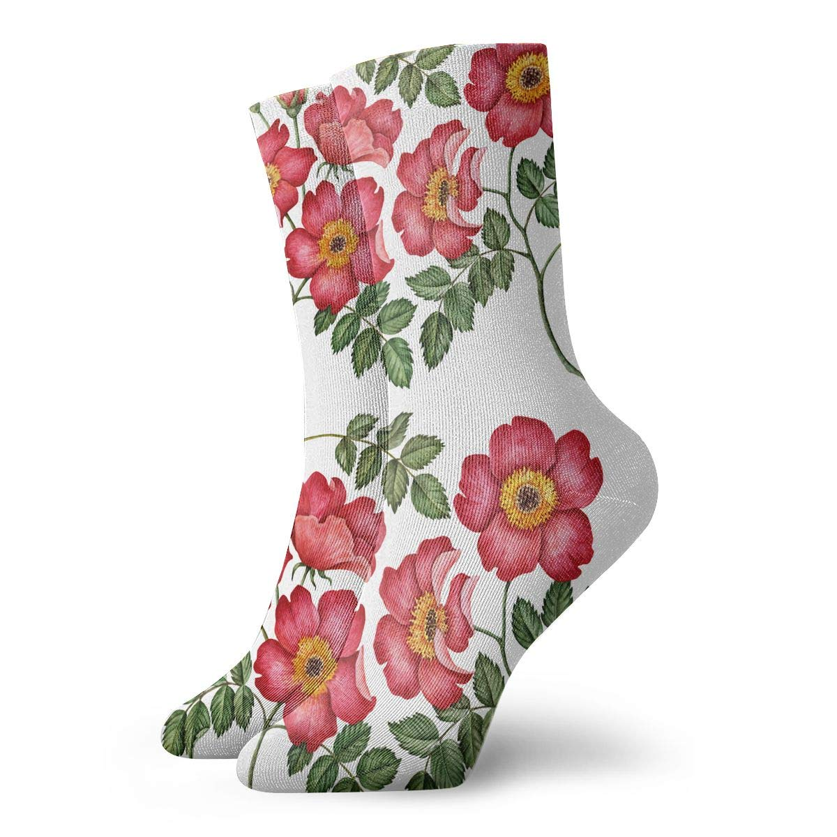 Watercolor Set Of Rose Hip Flowers And Leaves Fashion Dress Socks Short Socks Leisure Travel 11.8 Inch