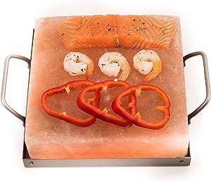 Himalayan Chef Himalayan Pink Salt Plate, Slab for Cooking 6 x 6 x 1 with Metal Holder