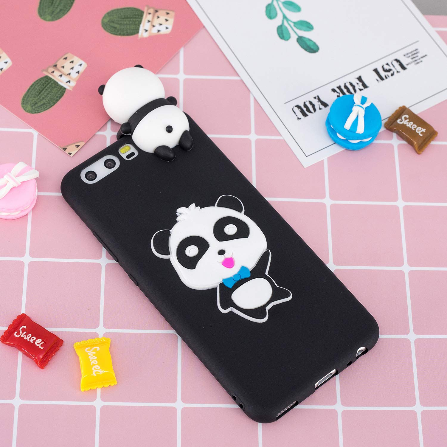 for Huawei P10 Silicone Case with Screen Protector,QFFUN 3D Cartoon [Panda] Pattern Design Soft Flexible Slim Fit Gel Rubber Cover,Shockproof Anti-Scratch Protective Case Bumper by QFFUN (Image #6)