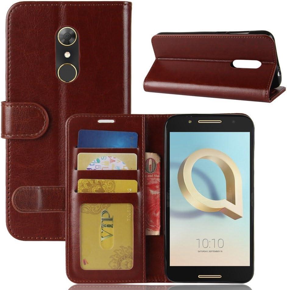 pinlu® Funda para Alcatel A7 Moda Negocios Flip Phone Case Magnética Billetera de Cuero PU con Ranura para Tarjeta y Soporte Función Marrón: Amazon.es: Electrónica