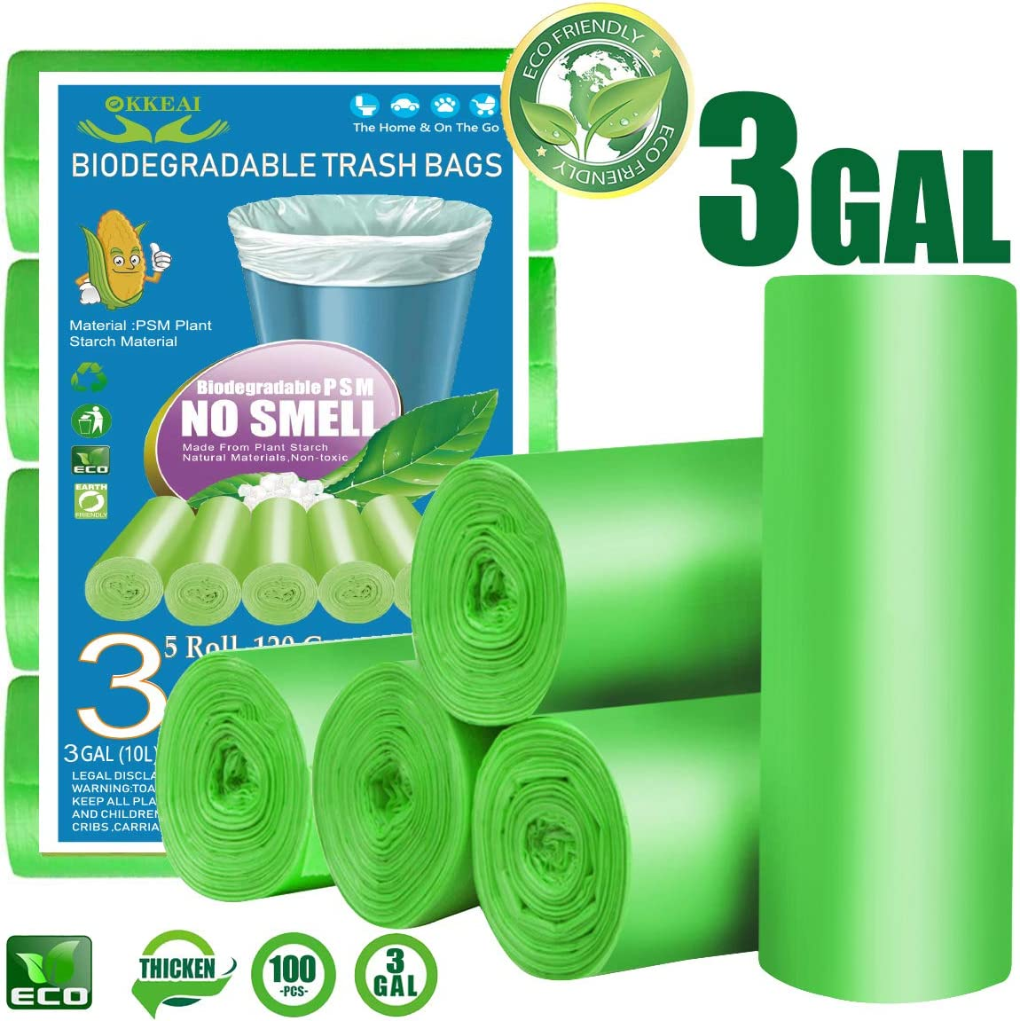 OKKEAI 3 Gallon Small Trash Bags,100 Counts Small Garbage Bags Leak Proof Compostable Bags Wastebasket Liners Bags for Bathroom Kitchen Bedroom Living Room Office,Green