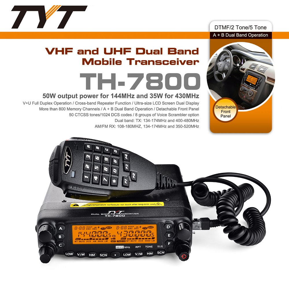 TYT TH-7800 50W Dual Band Dual Display Repeater Car Truck Ham Radio by TYT (Image #2)