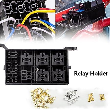 Kaifa 12-Slot Relay Box 6 Relays 6 ATC/ATO Fuses Holder Block with on