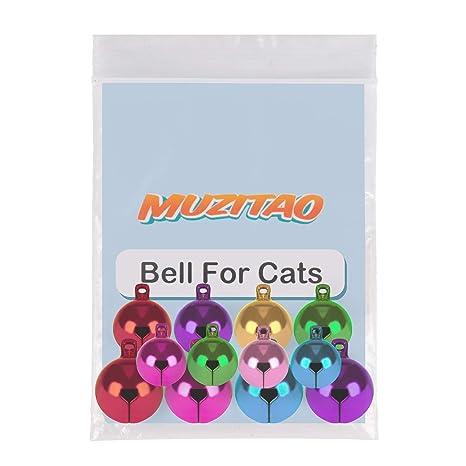 Muzitao Cascabel para Gatos (Pack de 12) El Cascabel más Resistente y el sonajero más sonoro para Collares de Gatos