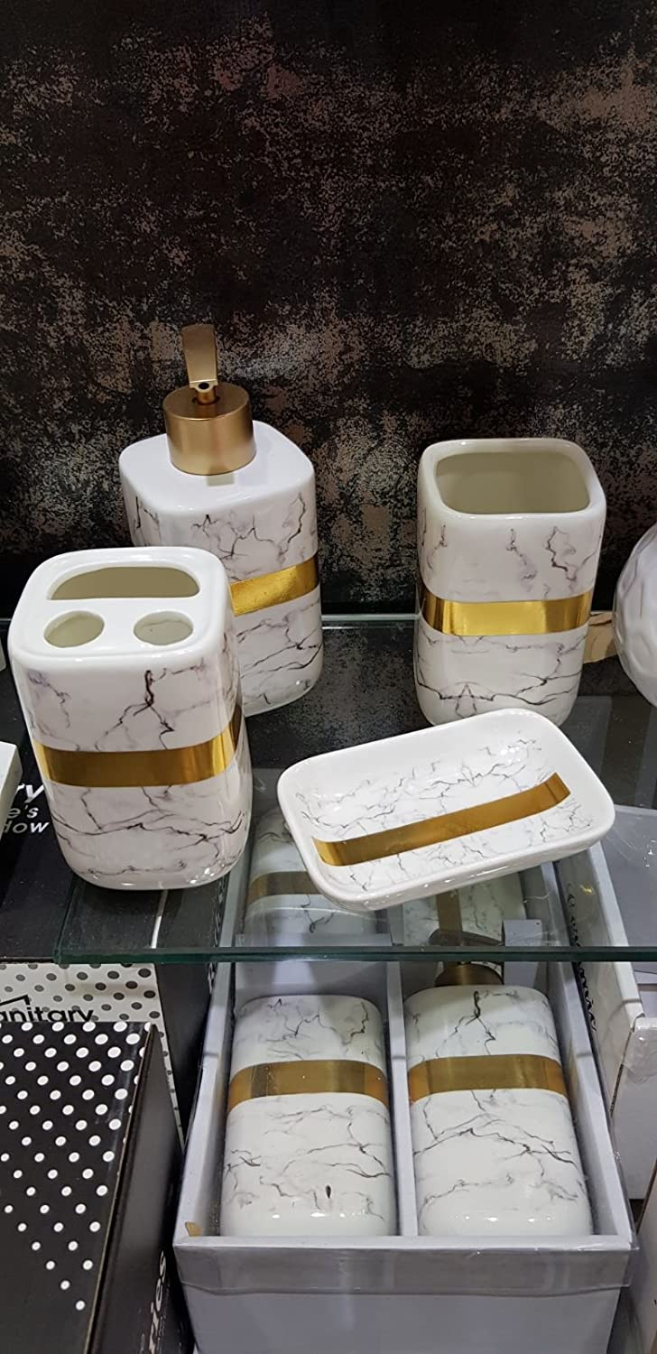 4 Piece Luxury Bathroom Set Tumbler Lotion Dispenser Soap Dish Toothbrush Holder (White Marble Effect) S&S Mosaic Tiles