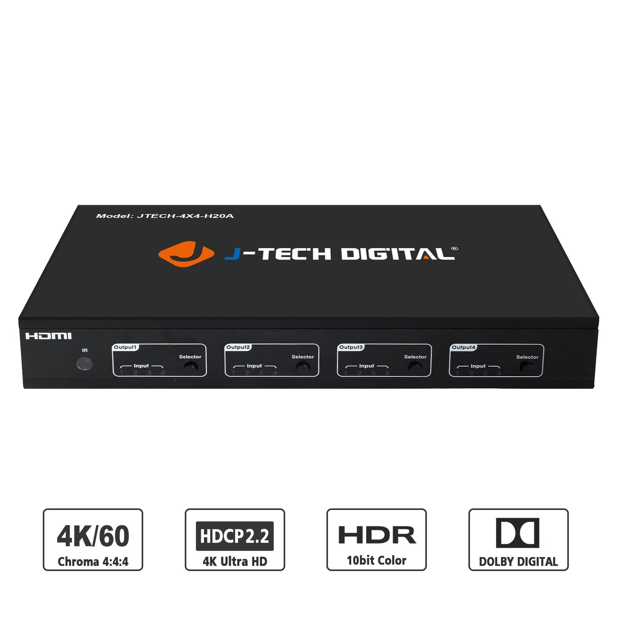 J-TECH DIGITAL 4K 60HZ 4X4 HDMI Matrix 4x4, YUV4:4:4 18Gbps Supports HDMI 2.0, HDCP 2.2/1.4 ,HDR, EDID, IR Remote Control, RS232 Control, Web GUI Control and SPDIF AUDIO Output