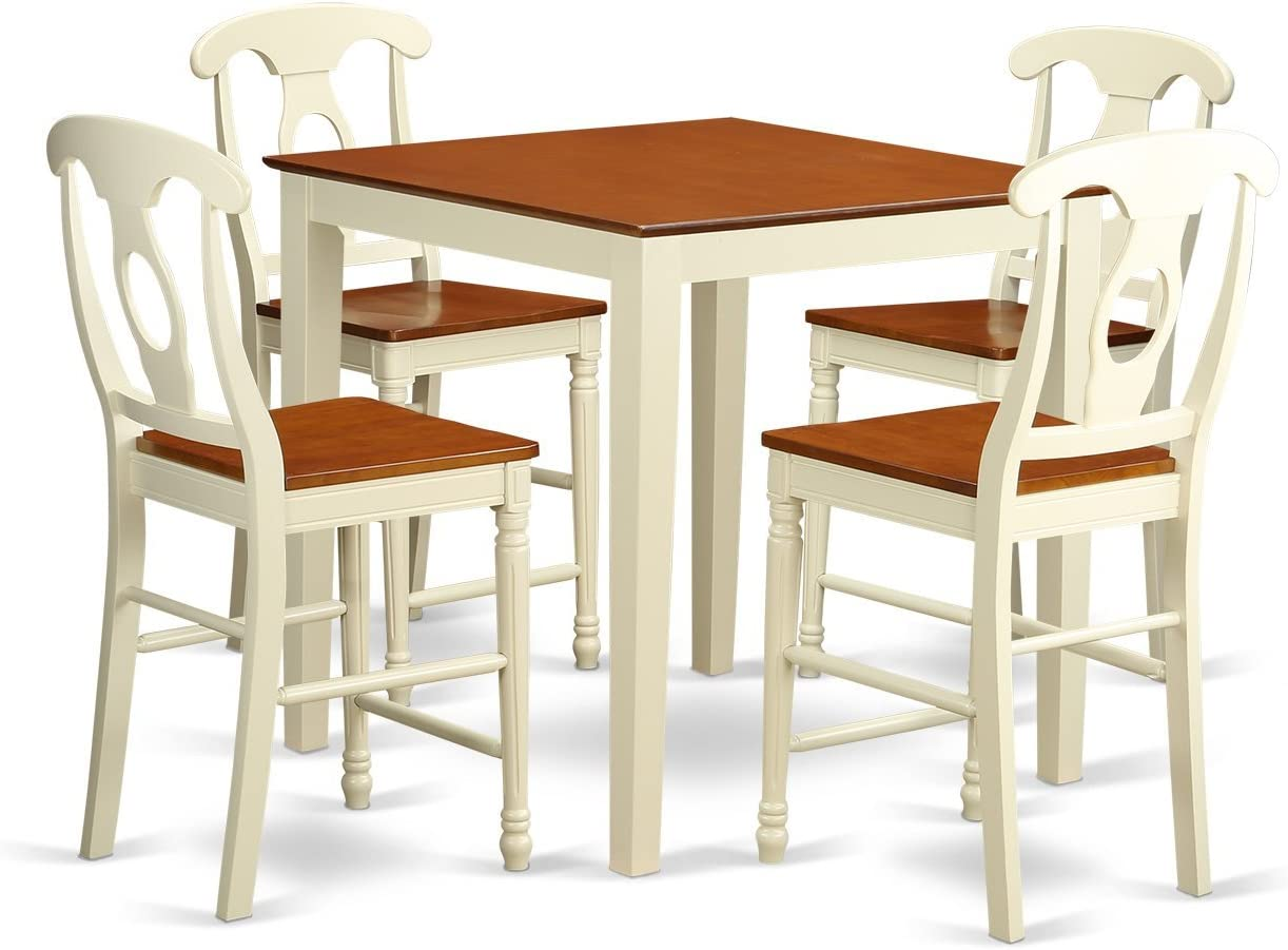 VNKE5-WHI-W 5 Pcpub Table set – high Table and 4 bar stools.