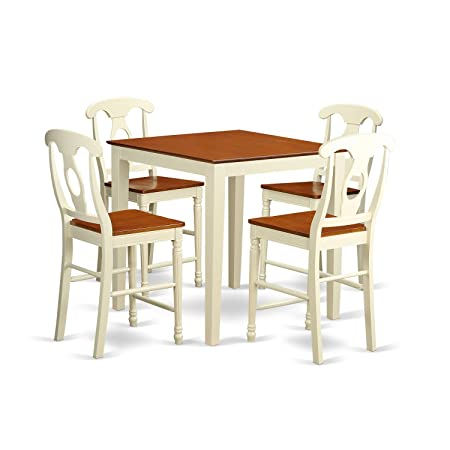 East West Furniture VNKE5-WHI-W 5 Piece High Table and 4 Bar Stools Set