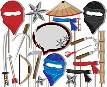 Ninja Warrior Photo Booth Props Kit - 20 Pack Party Camera Props Fully Assembled