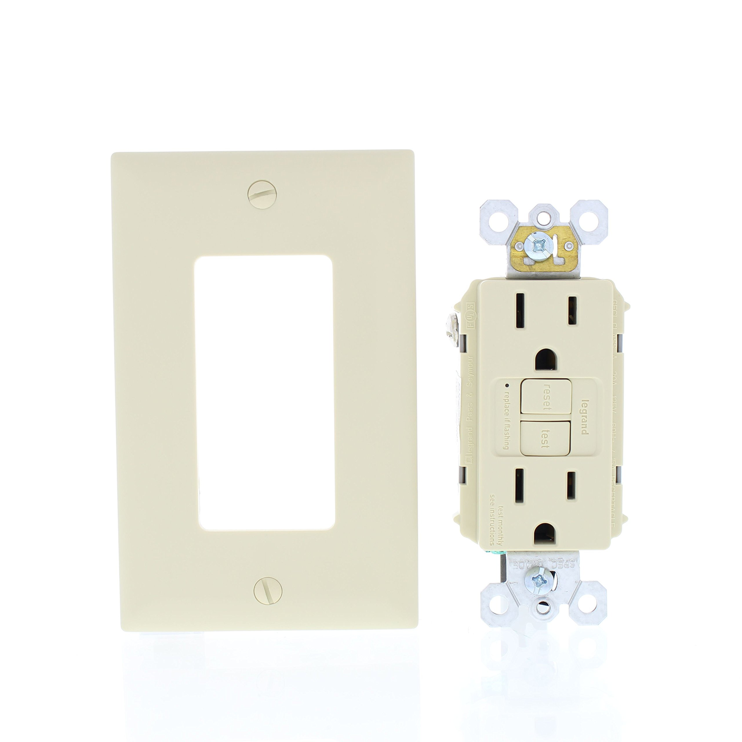 Legrand - Pass & Seymour radiant 1597ICC10 15 Amp Self-Test GFCI Outlet, Ivory