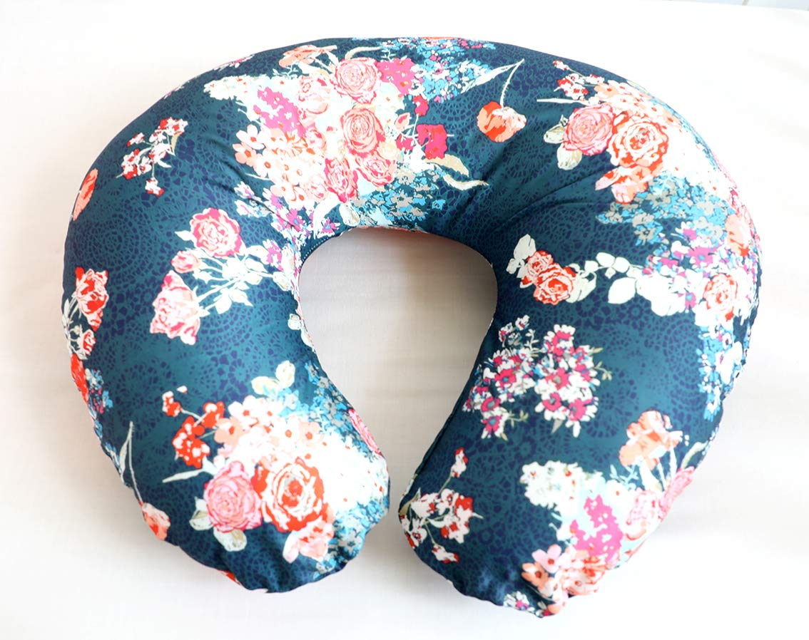 Nursing Pillow Cover Baby Cover Infant Nursing Pillow Slipcovers for Breastfeeding Moms Great Baby Shower Gift  (Navy Coral) by TopOneBedding