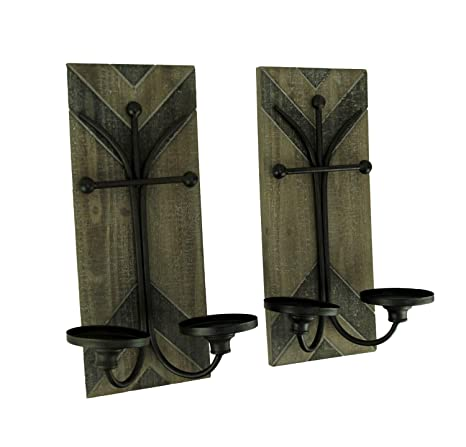 Amazon.com: Juego de 2 velas de doble pared de madera y ...