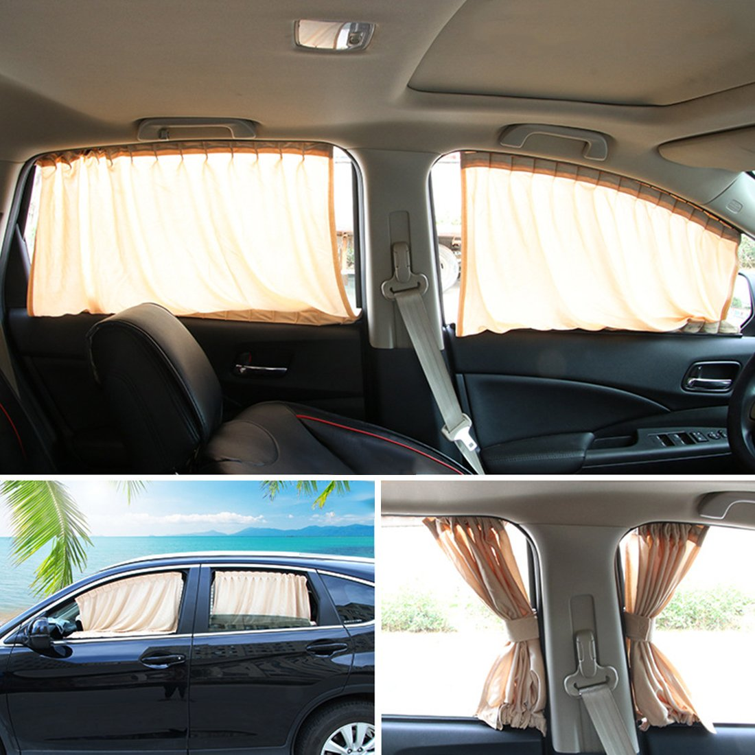 Andux Land Car Window Shade Curtain Cotton Sunshade UV Protection PBCL-01, a pair (Grey, 50S)