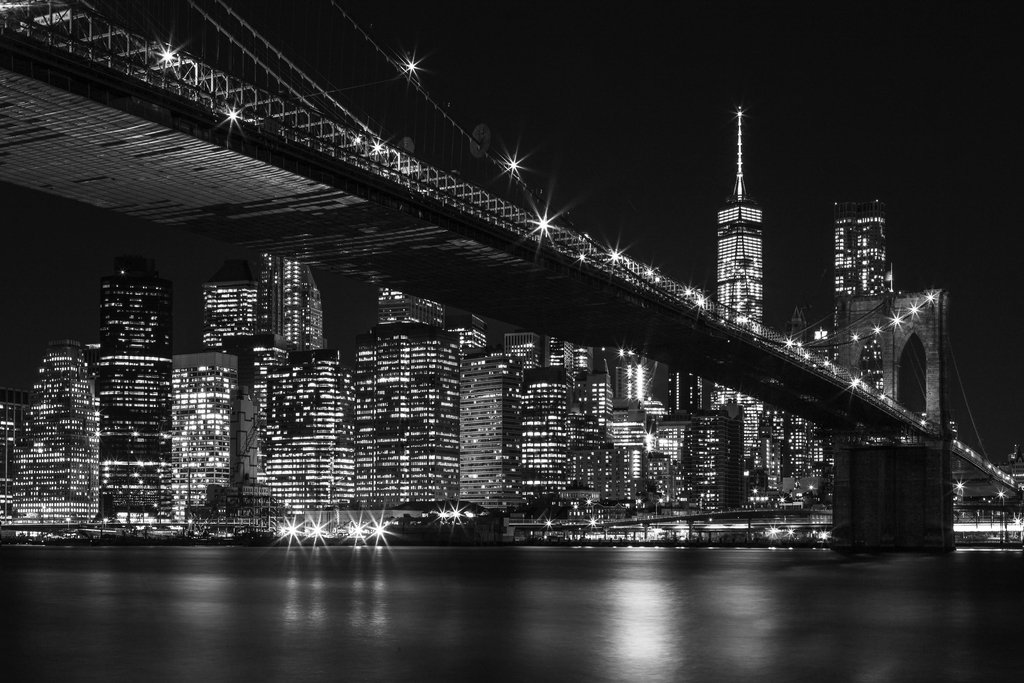 Brooklyn Bridge New York City NYC Skyline at Night Black and White Photo Art Print Framed Poster 20x14 inch Poster Foundry 184959