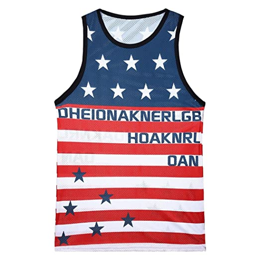 9c2c71658eed4a Allywit American USA Flag 4th of July Independence Day Men s Tank Top  Singlet (Blue A