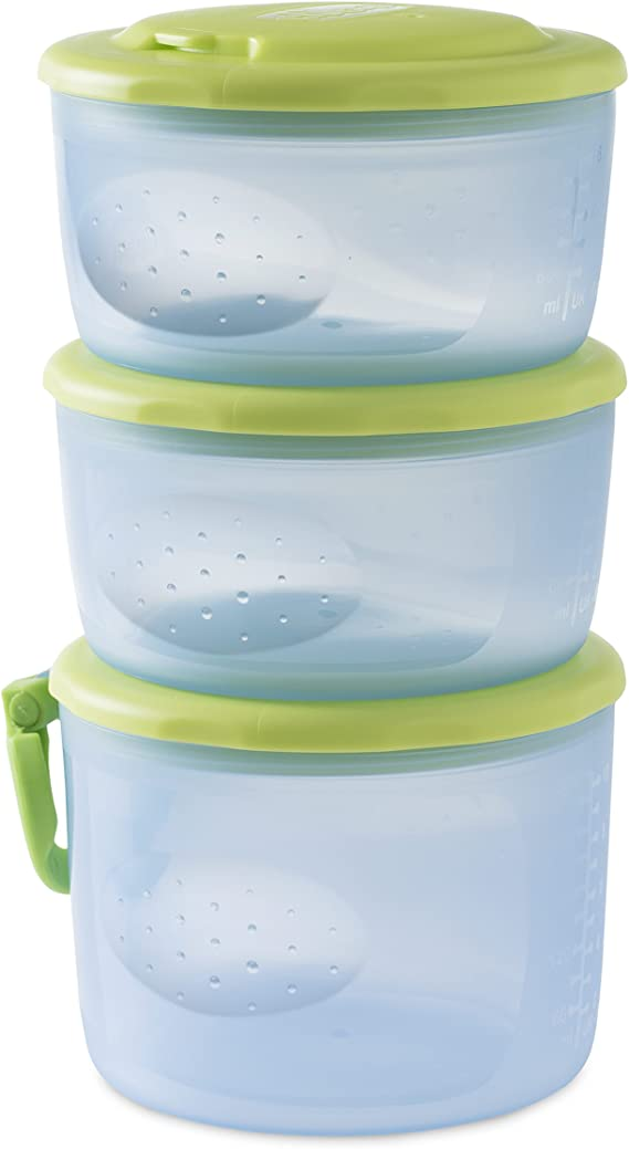 Chicco Easy Meal - Pack de tres recipientes porta papilla encajables entre ellos, 180ml y 300ml, 6m+: Amazon.es: Bebé