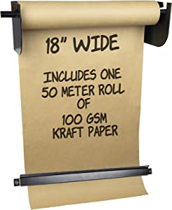 Wall Mounted Kraft Paper Dispenser & Cutter: Includes 50 Meter Long Kraft Paper Roll - Perfect for To-Do Lists, Daily Specials, Menus and other Note Taking (18 Inches Wide)