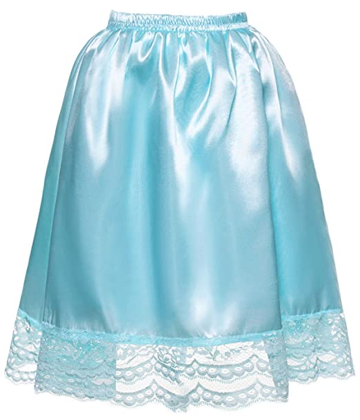 d65e65921c DYS Women's Satin Slip Short Petticoat Skirt Underskirt Lace Hem Many  Colors Aqua XS