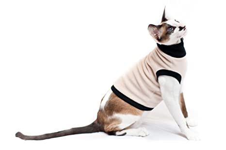 Kotomoda ropa para gatos cuello alto Biege Fleece (S)