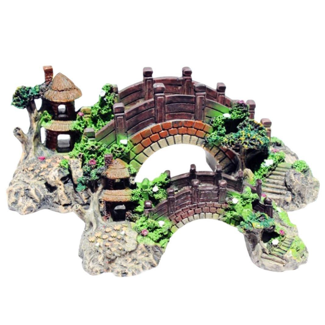 Hunpta - Puente de resina para decoración de peces, acuario, accesorios (M, amarillo): Amazon.es: Productos para mascotas