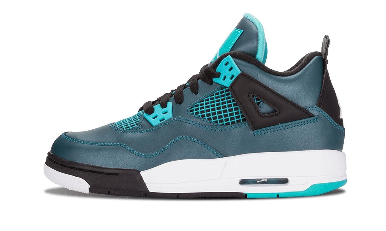 brand new 5b1fa db996 Amazon.com   Nike Mens Air Jordan 4 Retro 30th BG Teal Teal White-Black  Leather Size 4.5Y Basketball Shoes   Fashion Sneakers