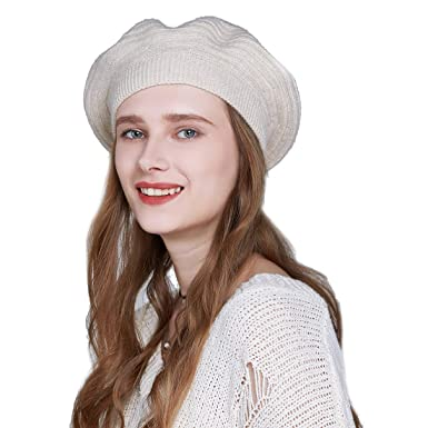 YaToy Fashion Beret Hats Winter Warm Beret Women Knitting Wool Hats French  Beret Beanies Cap Beige 072f2af79ab